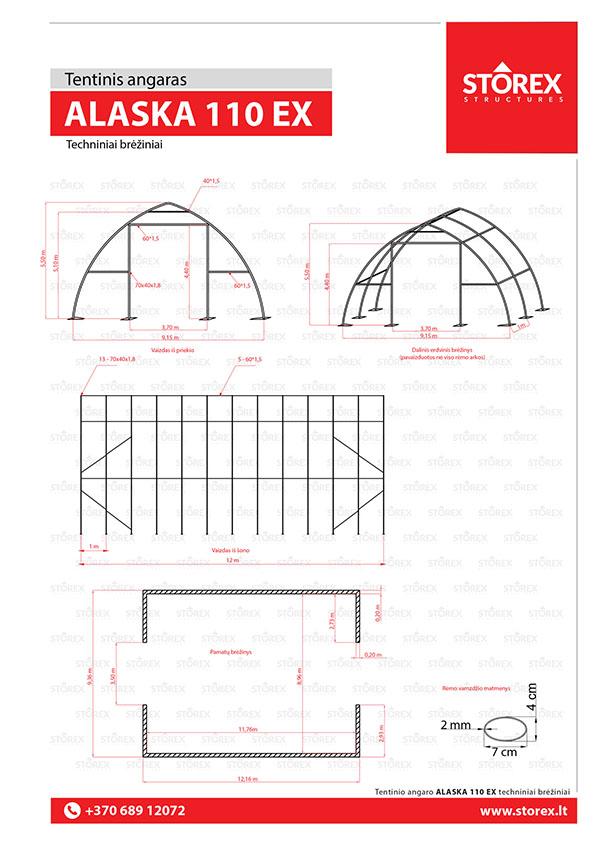 Tenta angāri ALASKA EXTREME 180 tehniskais zīmējums
